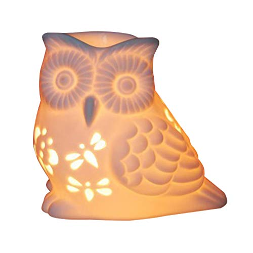 Singeek Owl Ceramic Tealight Holder and Wax Melt Warmer,Essential Oil Burner Candle Aroma Diffuser for Spa Yoga Meditation ()