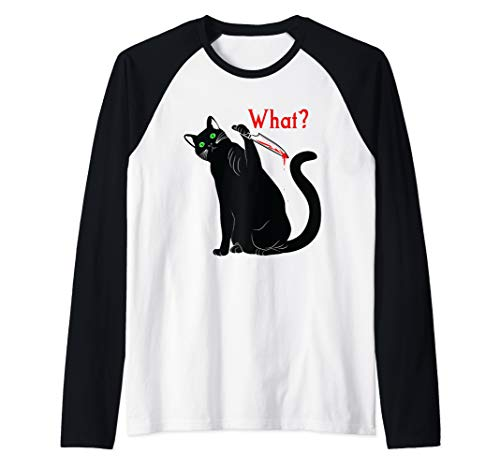 Halloween Superstitions Black Cats (Halloween Black Cat Superstition Killer Cats with a Knife Raglan Baseball)