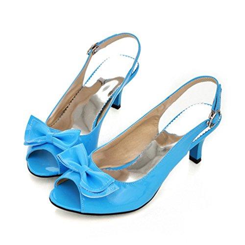 Talon Bowtie Cheville Découpe Sandales Bleu Sandales Talons Robe Slingback Femmes Strap Chaton Toe Peep zvqw1S