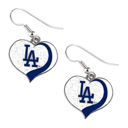 Los Angeles Dodgers MLB Sports Team Logo Glitter Heart Earring Swirl Charm Set