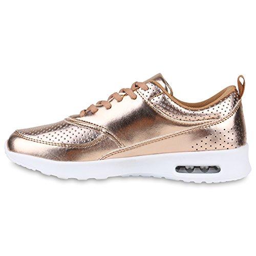 Stiefelparadies Damen Sportschuhe Runners Sneakers Laufschuhe Fitness Trendfarben Sportliche Schnürer Flandell Rose Gold