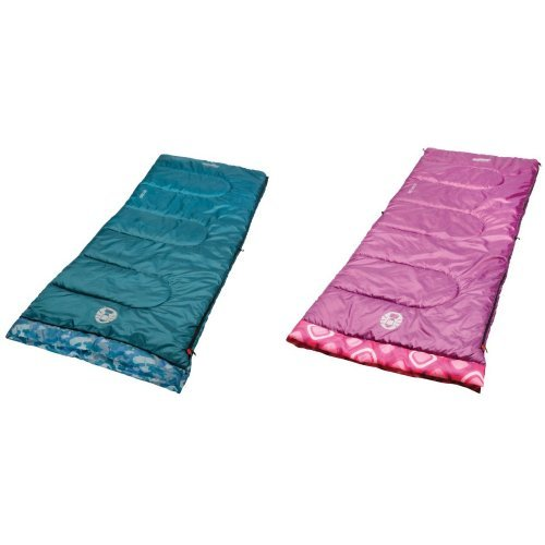 Coleman Kid Camo 45 Youth Sleeping Bag and Coleman Plum Fun 45 Youth Sleeping Bag Bundle