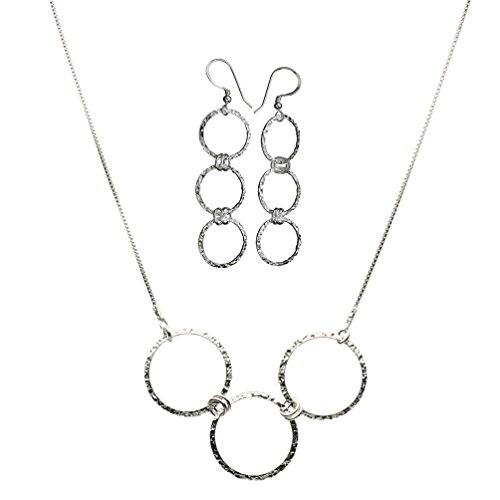 Sterling Silver Flat Hammered Circle Medium Links Necklace Italy Earrings Adjustable 16