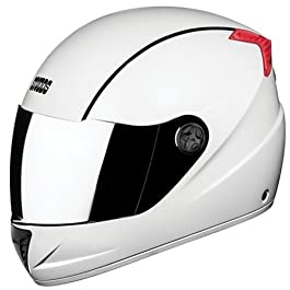 Studds Professional Full Face Helmet With Mirror Visor (White and Black, XL)