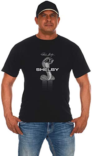 JH Design Men's Shelby Cobra T-Shirt Short Sleeve Black Crew Neck Shirt (Medium, Black)