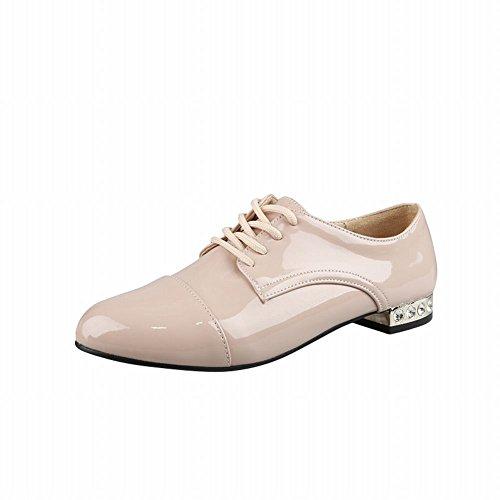 Show Shine Womens Fashion Low Chunky Heel Oxfords Shoes Beige bSQgozD