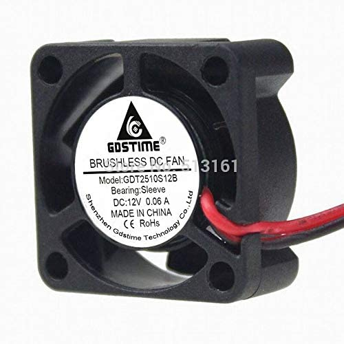 50pcs//lot Gdstime 2510 12V XH2.54-2Pin 2.5CM 25mm 25x25x10mm 5 Blades DC Mini Brushless Cooling Fan