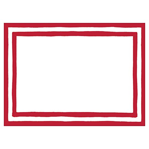 Caspari Border Stripe Self-Adhesive Gift Tags in Red, 36 Labels Included