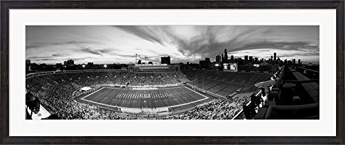 (Soldier Field Football, Chicago, Illinois by Panoramic Images Framed Art Print Wall Picture, Espresso Brown Frame, 49 x 21 inches)
