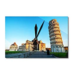Lantern Press Pisa, Italy - Leaning Tower of Pisa & Blue Sky A-9008370 (Acrylic Wall Clock)