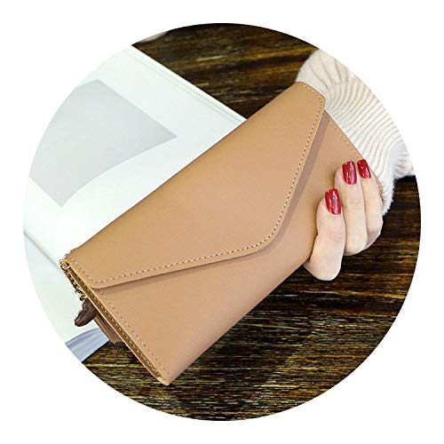 Leather Women Wallet Design Hasp Solid Color Card Bags Long Female Purse,Apricot