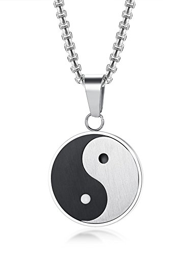VNOX Stainless Steel Matte Finished Yin Yang Pendant Necklace with Free Chain 24