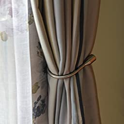 Nanami Chic@ One pair of Curtain Wall Curtain Holdback Tie Back Hanger Hook Holder Tie back Bronze Decorative Crystal Curtain Tassel U hook(Trumpet:Bronze)