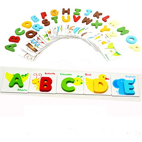 - monzar Classic Wooden Puzzle English Alphabet Number Cards See-Inside Alphabet & Numbers and Mix & Match Colors Improve Your Baby's Interest in Learning