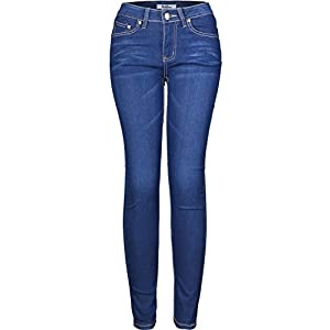 2LUV Women's Stretchy 5 Pocket Skinny Light Denim Jeans