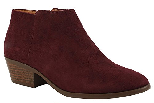 Vegan Walking Boots - OLIVIA K Women's Western Ankle Boots-Low Heel Closed Toe Bootie-Comfortable Walking Slip on Boot