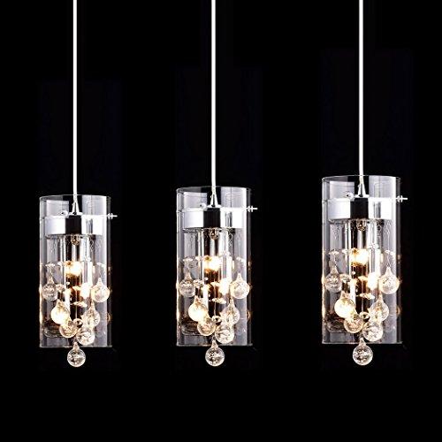 3 Light Kitchen Chandelier (CLAXY Ecopower Lighting Glass & Crystal Pendant Lighting Modern Chandelier for Kitchen-3 Lights)