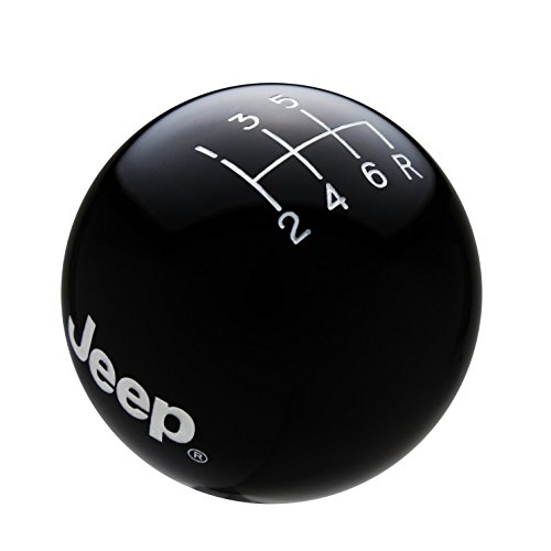 Speed Dawg M501JP-EW-6RDR Shift Knob (Black/White with Engraved Pattern Jeep Logo 6 Speed Reverse Lower Right) (Best 6 Speed Shift Knob)