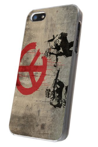 iphone 5 5S Banksy Grafitti Art PEACE SIGN TROOPS Design Case/Back COVER PLASTIC/METAL-Clear Frame (Cath Kidston Iphone 5 Case)