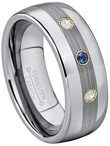 Sapphire Tungsten Diamond - 0.21ctw Blue Sapphire & Diamond 3-Stone Anniversary Band - September Birthstone Ring - 8mm Polished & Brushed Finish Comfort Fit Dome Tungsten Wedding Ring-8