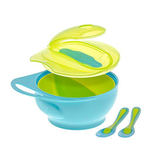 Brother Max Baby Feeding Bowl with Lid Set for Toddler, Baby Divided Bowl with Spoon, Easy-Hold Handle for Baby Self Feeding, BPA Free 4M+ Blue/Green