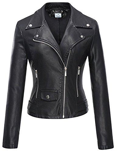 VearFit Speedo Zippy Missy Regular & Plus size black biker Genuine leather jacket for women, Large, Black by VearFit (Image #3)