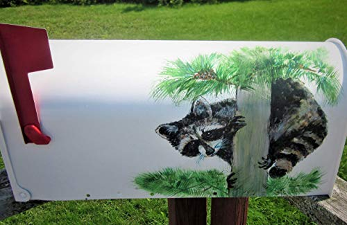 Hand Painted Mailbox, House Warming Gift, Wedding Gifts, Country Chic, New Home Gift, Raccoons Art, Raccoon Lover, Rural Mailbox