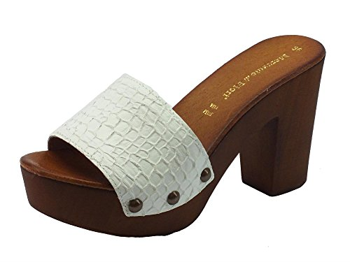 52750204 Mercante di Fiori Rc4278 Bianco - Sandalias de vestir de Piel para mujer  Bianco