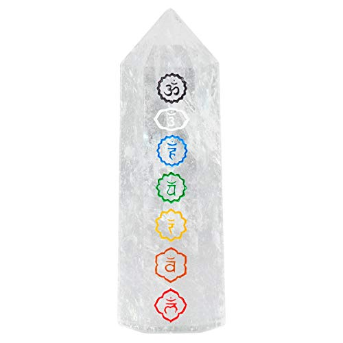 - rockcloud Rock Quartz with 7 Chakra Symbol Healing Crystal Point Faceted Prism Wand Carved Reiki Stone Figurine
