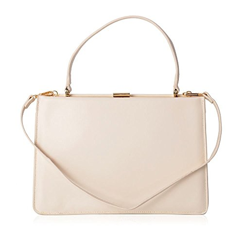 Tote Leather Cream Colour Strap 100 Genuine Bag With Shoulder Removable IqB5F