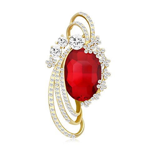 TUSHUO Gold Plated Excellent Elegant Hollow Crystal Flower Brooches for Women (Red)