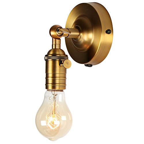 (Mini Wall Sconce Fixture, XIDING Upgrade Matt Bronze Finish Vintage Wall Lamp, Single Socket with Candlestick Molding Design, Industrial Rustic Retro Metal Wall Lights, with On/Off Switch)