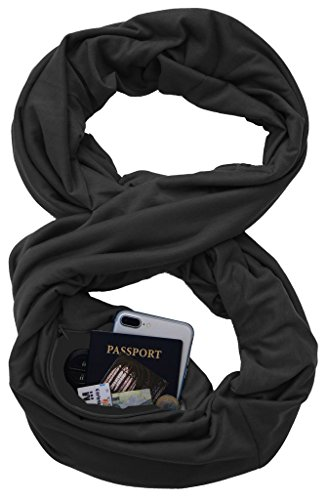 Infinity Scarf Shawl Wrap - Solid Zip Pocket Scarf Travel for (Back Zip Cape)