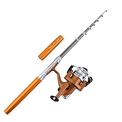 DealMux Fiber Glass, Pescador, telescópico portátil Mini bolso Pesca Rod Spinning Reel Set