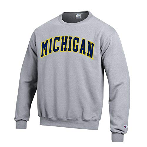 Champion NCAA Men's ECO Power Blend Crew Sweatshirt with Tackle Twill Embroidered Lettering-Michigan Wolverines-Heather Grey-XL