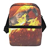 Lunch Bag Fire Running Horse Portable Cooler Bag Womens Leakproof refrigerator Storage Zipper Tote Bags for Outdoor