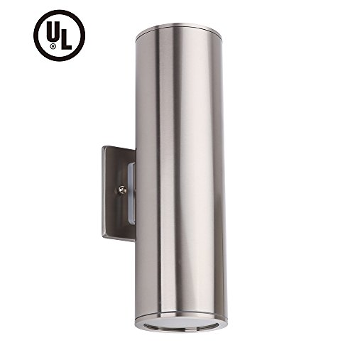 Outdoor Wall Light Fixture, IP54 Waterproof Exterior Wall Sconce Porch & Patio Lighting, Stainless Steel 304 Up Down Cylinder [UL LISTED]