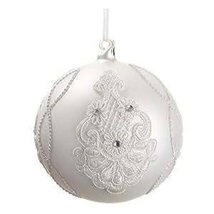 "5"" Rhinestone/Lace Glass Ball Ornament White (Pack of 4)"