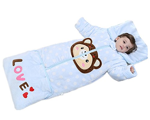 Luyusbaby Sleep Sack Removable Sleeves Baby Wearable Blanket Thinckened Velvet for Autumn Winter