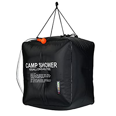 Solar Shower Bag, RISEPRO 10 gallons/40L Solar Heating Camping Shower Bag with Temperature Hot Water 45°C Hiking Climbing XH07