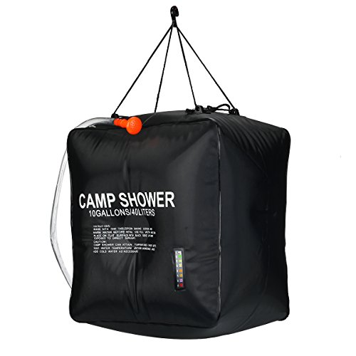 Price comparison product image Solar Shower Bag, RISEPRO 10 gallons/40L Solar Heating Camping Shower Bag with Temperature Hot Water 45°C Hiking Climbing XH07