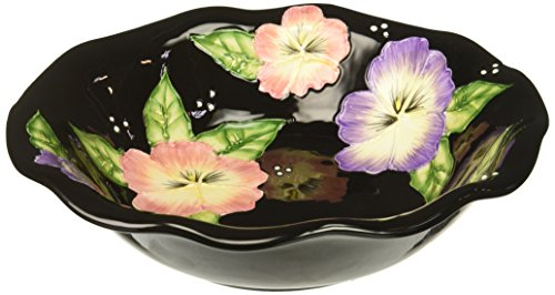 ATD 32203 Set of 4 Black Soup Bowls with Floral Design