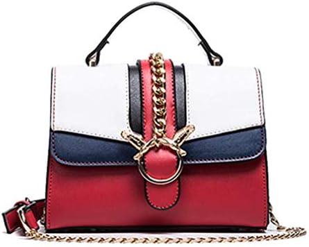 チェーンバッグ、新しいファッションのショルダーバッグ小さな正方形のバッグ、野生のメッセンジャーバッグ、シンプル、ホワイトプラスレッド、20 * 15 * 8 Cm 美しいファッション