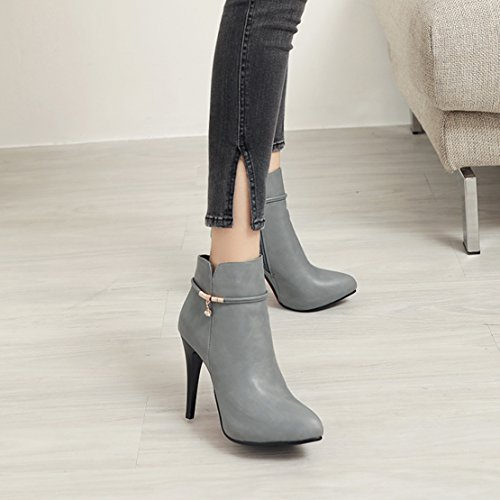 Boots High Womens AIYOUMEI Party Boots Pointed Shoes Crystal Stiletto Heel Heel Ankle Grey Booties TP55wqa