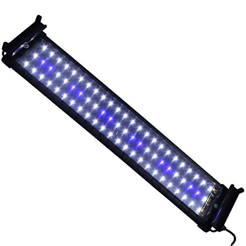 Mingdak LED Aquarium Light Fixtures for Fish Tanks,led Reef Aquarium Lighting,72 Leds,20-inch,white and Blue