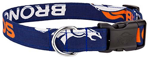 Country Brook Design Broncos Orange Handmade Designer Dog Collar-L
