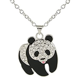 EVER FAITH Austrian Crystal Enamel Lovely Squabby Panda Pendant Necklace Clear for Children, Kid, Women
