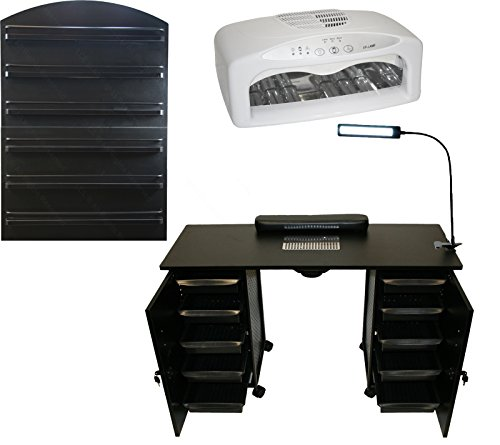 LCL Beauty Deluxe Vented Black Manicure Nail Table Station LED Dryer Wall Mount Rack Salon Spay Beauty (Nail Dryer Table)