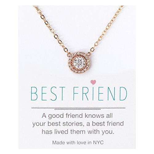 AMY O Crystal Pendant Necklace in Silver, Yellow Gold or Rose Gold, Gift for Best Friend, 16