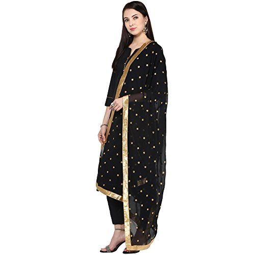 Chiffon Dupatta with Elegant Embroidered Motifs,Black by Dupatta Bazaar